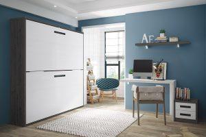 Dormitorio juvenil Nativ A1 Dormitorio juvenil con literas abatibles y mesa estudio. Muebles Díaz