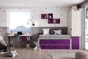 Dormitorio juvenil Nativ A25 Dormitorio juvenil compacto,  con armario arcón de apertura lateral. Muebles Díaz
