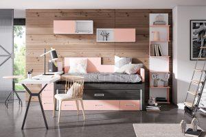 Dormitorio juvenil Nativ A28 Dormitorio juvenil con compacto, mesa estudio y estantería Z. Muebles Díaz