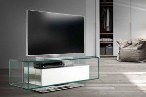 Mesa de TV. Sensit 76 Mesa de TV que Combina en Cromado, Cristal y Laca. . Muebles Díaz