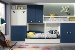 Dormitorio Juvenil Style Q Dormitorio Juvenil Tipo Tren con Cama Abatible Vertical. Muebles Díaz