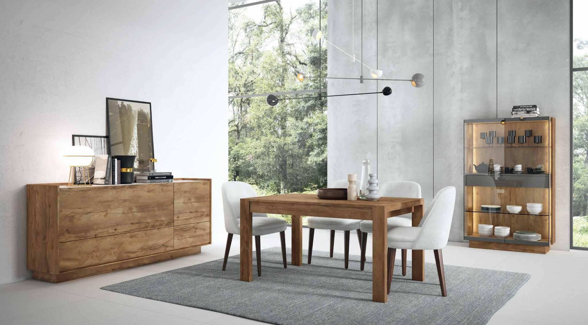 Salón Moderno Zenit P Mueble Salón con Aparador, Vitrina y Mesa en Línea Moderna. Muebles Díaz