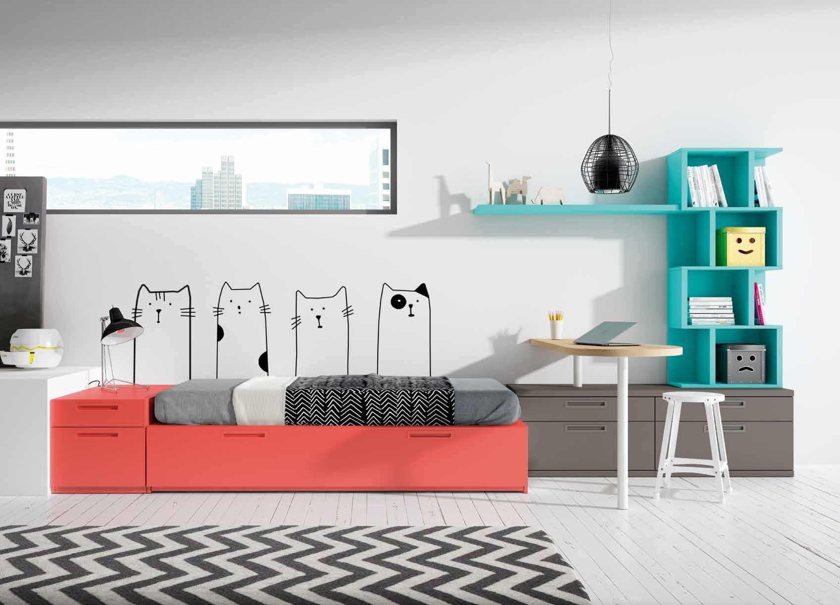Dormitorio Juvenil Petsa A Dormitorio Juvenil con Cama Nido Modular Tatami. Muebles Díaz