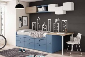 Dormitorio Juvenil Petsa C Dormitorio Juvenil con Mesa Estudio Integrada y Armario Puertas Corredera. Muebles Díaz