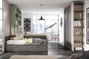 Dormitorio Juvenil Petsa F Dormitorio Juvenil con Nido, Armario Puertas Corredera y una Muy Amplia Zona de Estudio. Muebles Díaz