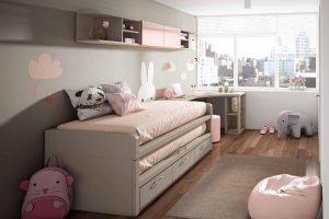 Dormitorio Juvenil Petsa L Dormitorio Juvenil con Compacto de Dos Camas y Amplia Mesa Estudio de Rincón. Muebles Díaz