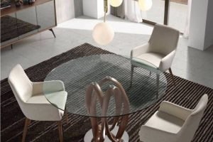 Mesa  Redonda Kliper AC Mesa Comedor Redonda con Patas de Exclusivo Diseño y Tapa de Cristal o Madera. Muebles Díaz